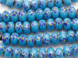 Blue w/Flowers Lampwork Glass Beads 15mm - Large Hole (LW1495)