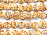 Tan w/Brown Swirl Lampwork Glass Beads 12mm (LW1444)