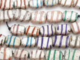 Multicolored Foil Lampwork Glass Beads 15-20mm (LW1500)