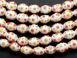 White Spotted Egg Lampwork Glass Beads 15mm (LW1461)