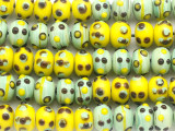 Green & Yellow Rondelle Lampwork Glass Beads 11mm (LW1464)