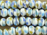 White w/Swirled Hearts Lampwork Glass Beads 13mm (LW1466)