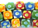 Mixed Cube Lampwork Glass Beads 12mm - Large Hole (LW1482)