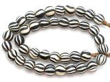 Black & White Striped Glass Beads - Nepal 11mm (NP278)