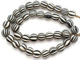 Black & White Striped Glass Beads - Nepal 13mm (NP279)