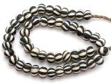 Black & White Striped Glass Beads - Nepal 17mm (NP281)