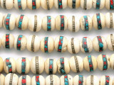 Bone w/Inlay Prayer Beads Mala - Nepal 12mm (NP544)