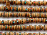 Sandalwood w/Inlay Prayer Beads Mala - Nepal 7mm (NP545)