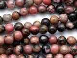 Rhodonite Round Gemstone Beads 6mm (GS3120)
