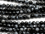 Snowflake Obsidian Round Gemstone Beads 4mm (GS3131)