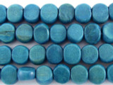 Teal Tabular Wood Beads 9mm - Indonesia (WD248)
