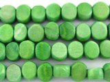 Spring Green Tabular Wood Beads 9mm - Indonesia (WD249)