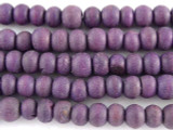 Purple Irregular Round Wood Beads 6mm - Indonesia (WD259)