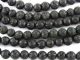 Black Polished Lava Rock Round Beads 6mm (LAV103)
