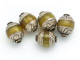 Yellow Resin w/Silver Caps Tibetan Bead 13mm (TB564)