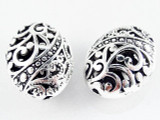 Pewter Bead - Ornate Cutout Oval 22mm (PB491)