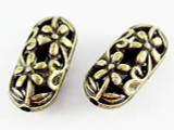 Brass Pewter Bead - Flower Oval 20mm (PB453)