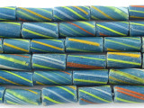 Teal Striped Glass Tube Beads 12mm (T813)