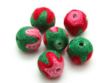 Cotton Wrapped Bead - Pink, Red & Green 15mm (CT158)