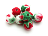 Cotton Wrapped Bead - Green, White & Red 15mm (CT160)