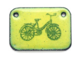 Enameled Copper Rectangle - Lime Green w/Bike 25mm (EC31)