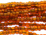 "Transparent Orange Glass Beads - 44"" strand (JV9063)"