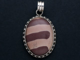 Sterling Silver & Print Stone Pendant 42mm (GSP93)