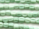 Seafoam Green Fluted Glass Beads 8-11mm (JV932)