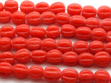 Coral Red Fluted Glass Beads 18mm (JV934)