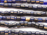Cobalt Blue w/ Stripes Graduated Glass Beads 2-5mm (JV990)