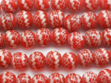Red & White Fiesta Glass Beads 12-14mm (JV950)
