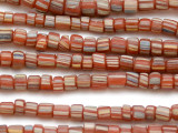 Red w/Stripes Graduated Glass Beads 3-6mm (JV1000)