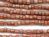 Red w/Stripes Graduated Glass Beads 3-6mm (JV1000)