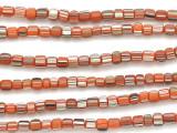 Orange w/Stripes Glass Beads 5-6mm (JV1003)