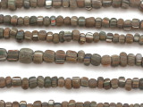 Muddy Brown w/Stripes Glass Beads 5-8mm (JV1004)
