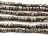 Charcoal Gray w/Stripes Glass Beads 5-8mm (JV1007)