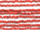 Red w/Stripes Irregular Round Glass Beads 3-4mm (JV1008)