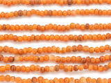 Orange w/Stripes Irregular Round Glass Beads 3-4mm (JV1011)