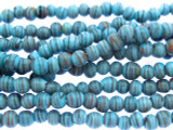 Turquoise w/Stripes Glass Beads 3-4mm (JV1013)