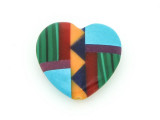 Inlaid Southwest Heart Pendant - Charm 15mm (GSP195)