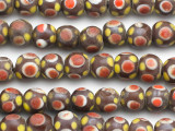 Brown w/Red & Yellow Eye Glass Beads 9-11mm (JV1121)