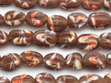 Brown w/Stripes Fluted Glass Beads 12-16mm (JV1022)