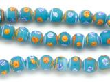 Teal w/Designs Irregular Round Glass Beads 10mm (JV1024)