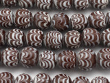 Brown Feathered Glass Beads 12-14mm (JV1124)