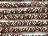 Brown w/Yellow Stripes Glass Beads 5-10mm (JV1079)