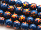 Navy Blue w/Flowers Glass Beads 10-12mm (JV1136)