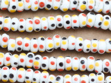 White w/Black, Red & Yellow Dots Glass Beads 8-12mm (JV1089)