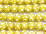 Chartreuse w/White Polka Dots Glass Beads 8-12mm (JV1140)