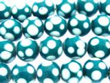 Teal w/White Polka Dots Glass Beads 10-12mm (JV1142)