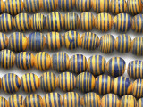Yellow w/Blue Stripes Irregular Round Glass Beads 10-12mm (JV1149)
